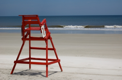 Sorli - Lifeguard Chair Breaking Waves on Right