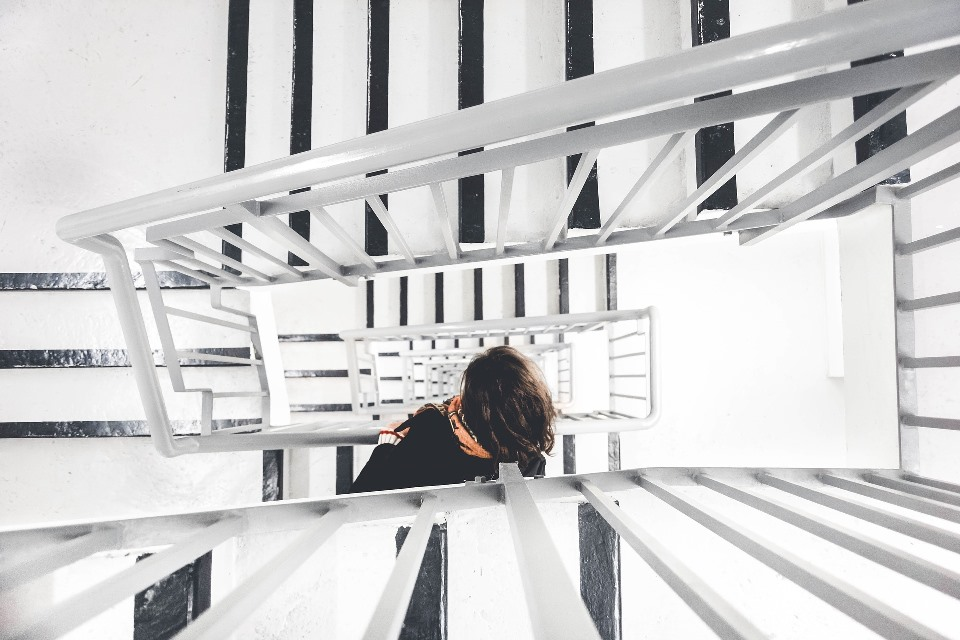 Woman in Stairwell